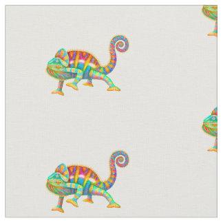 Tela de algodón colorida del camaleón de la
