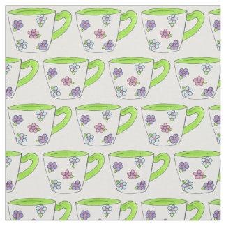 Tela de las tazas de té (taza de té floral verde) telas