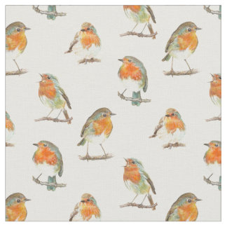 Tela Diseño rojo europeo del pájaro del petirrojo