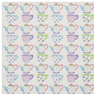 Tela en colores pastel de las teteras de las tazas telas