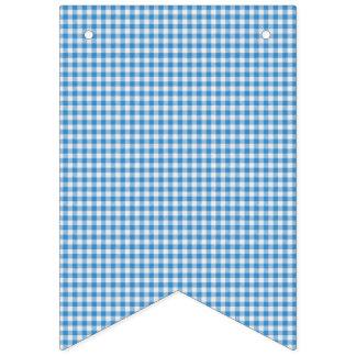 Tela escocesa a cuadros azul y blanca banderines