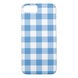 Tela escocesa azul clara y blanca de la guinga funda iPhone 7