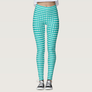 Tela escocesa azul y blanca de Tiffany Leggings
