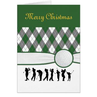 Tela escocesa de Argyle con la tarjeta de Navidad