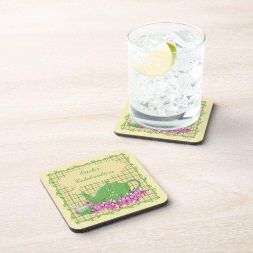 Tela escocesa de la celebración del té de Pascua Posavasos De Bebidas