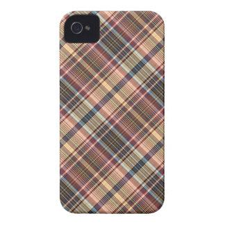Tela escocesa de la crema del rojo azul carcasa para iPhone 4
