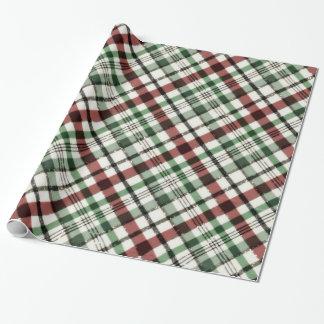 Tela escocesa de moda del navidad en verde rojo y papel de regalo