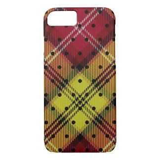 Tela escocesa de tartán amarillo-naranja roja del funda para iPhone 8/7