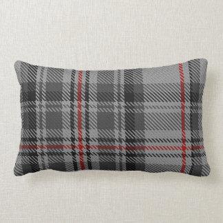 Tela escocesa de tartán gigante roja negra gris de cojín lumbar