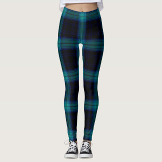 Tela escocesa de tartán grande azul del trullo leggings