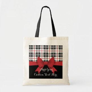 Tela escocesa de tartán negra roja y niños lindos bolso de tela