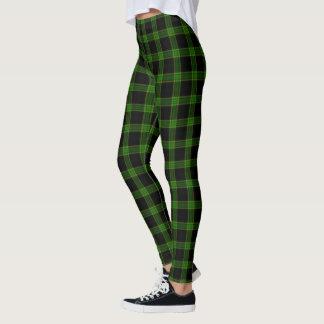 Tela escocesa de tartán negra y verde clara leggings