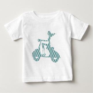 tela escocesa del azul de la vespa del chica camiseta de bebé