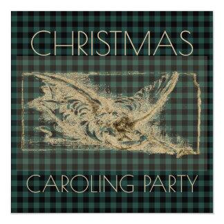 Tela escocesa del verde del ángel del vintage del invitación 13,3 cm x 13,3cm