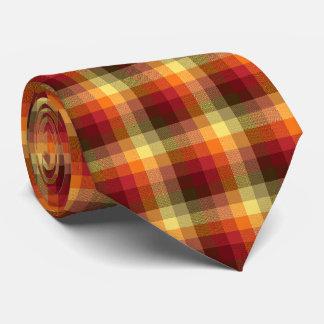 Tela escocesa loca del control roja y naranja corbatas personalizadas