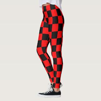 Tela escocesa negra roja escocesa del tablero de leggings