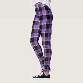 Tela escocesa púrpura y negra de la ráfaga leggings