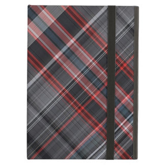 Tela escocesa roja, blanco y negro funda para iPad air