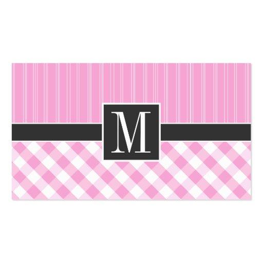 Tela escocesa rosada elegante; A cuadros Plantillas De Tarjetas Personales