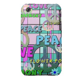 Tela escocesa rosada retra de la paz y del flower Case-Mate iPhone 3 cárcasas
