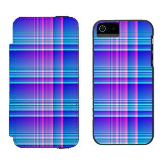 Tela escocesa rosada y azul a cuadros funda cartera para iPhone 5 watson