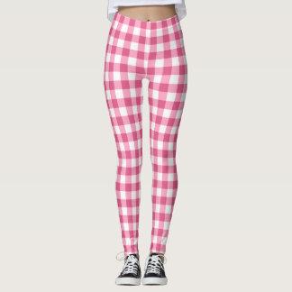 Tela escocesa rosada y blanca de la guinga leggings
