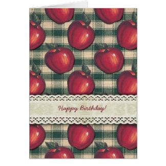 Tela escocesa verde de las manzanas rojas felicitaciones