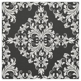Tela Estampado de flores blanco y negro femenino del