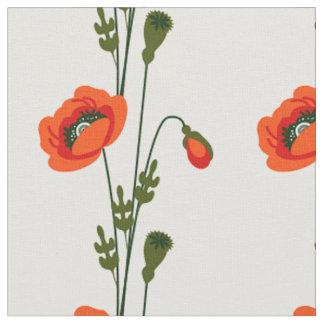 Tela Estampado de flores rojo de la amapola