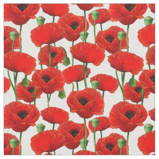 Tela Estampado de flores rojo de las amapolas