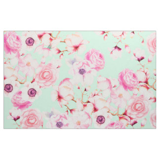 Tela Femenino se ruborizan florales rosados en verde