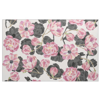 Tela Femenino se ruborizan las flores rosadas y negras