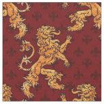 Tela Flor de lis medieval del rojo del león del oro