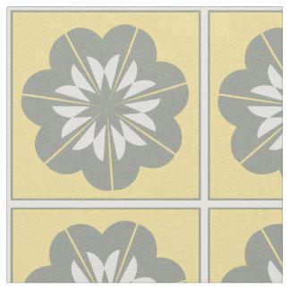 Tela floral amarilla y blanca gris del adorno