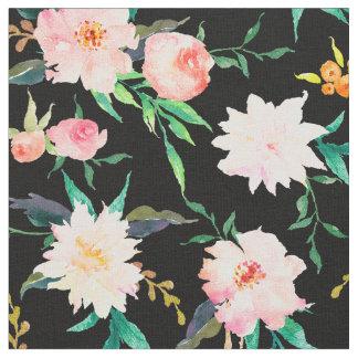Tela floral elegante del blanco del negro del rosa