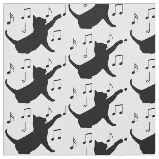 Tela Gato y notas musicales en silueta