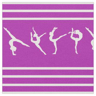 Tela Gimnasia rayada púrpura y blanca