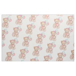 Tela Globos y niña rosados y azules del oso de peluche