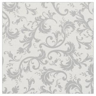 Tela gris blanca del modelo del damasco floral del