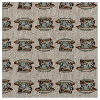 Tela hermosa de las tazas de té del vintage telas