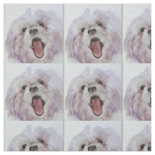 Tela impresa cara feliz del perro