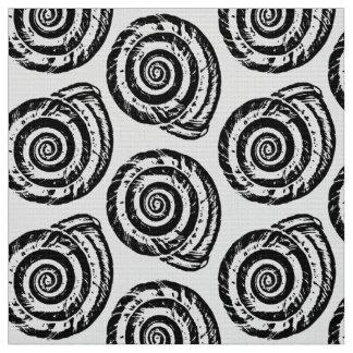 Tela Impresión de bloque espiral del Seashell, blanco y