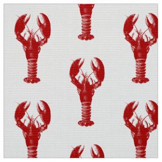 Tela Langosta de color rojo oscuro en blanco