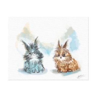 Tela los pequeños conejos lienzo