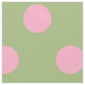 Tela Lunares rosados en fondo de la verde salvia