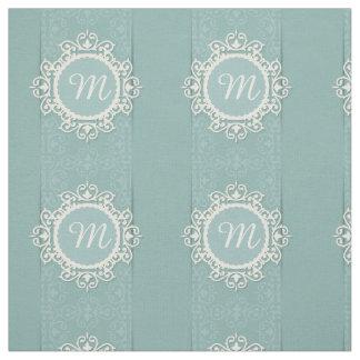Tela Marco floral blanco en fondo azul del damasco