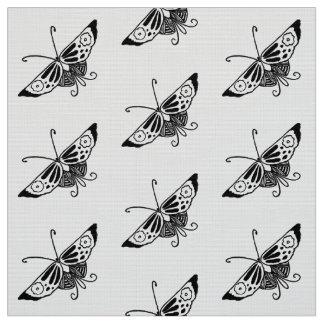 Tela Mariposa estilizada de Deco, blanco y negro
