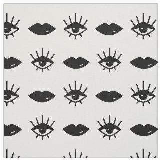 Tela Modelo blanco y negro de los ojos y de los labios