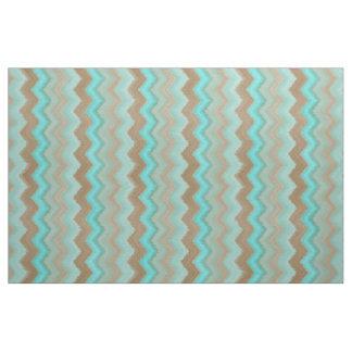 Tela Modelo de zigzag de Brown de azules turquesas de