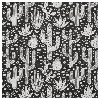 Tela Modelo del cactus - blanco en negro